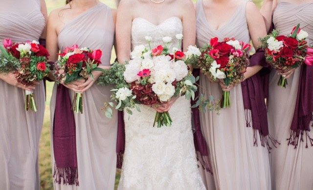 red white and green christmas bouquets