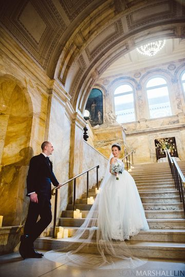 Couple by the grand staircase