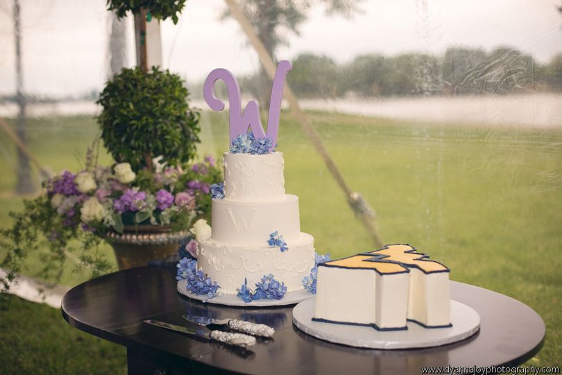 Scroll work and a touch of fresh hydrangeas make this cake beautiful! And don't forget about the...