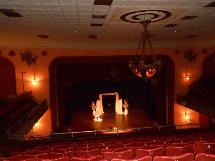 Theater decorated for wedding ceremony