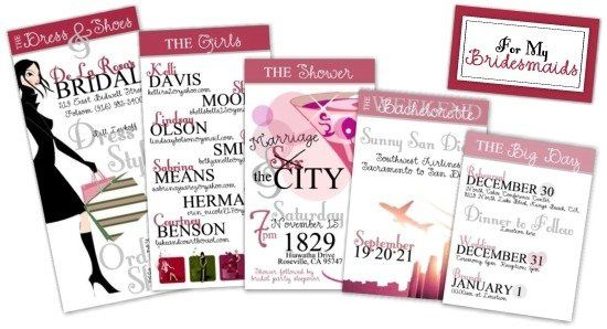 These cards were each custom designed to help the bridesmaids remember each activity surrounding the...