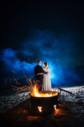 Bonfire beach wedding