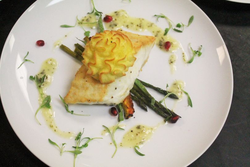 Halibut and duchess potatoes