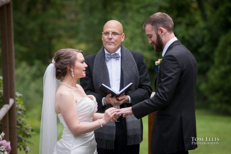 Wedding officiant heading the ceremony