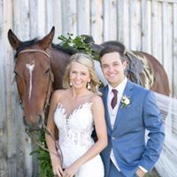 Newlyweds and a horse