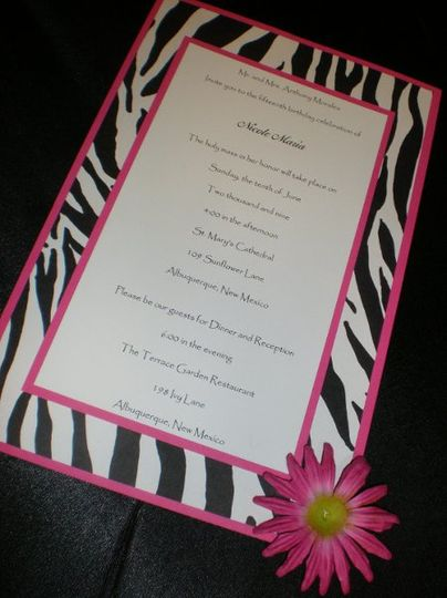 Zebra Invitation ~  All of our stationary can be customized using one of our existing designs as an...