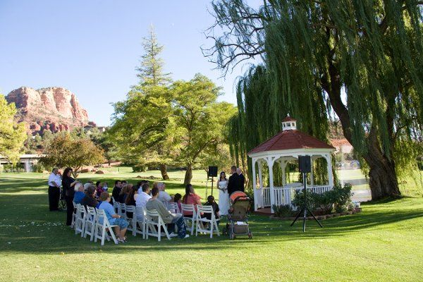 Ceremony Setting on our lovely golf course with Red Rock Views. Photo by Michael David - Taltos...