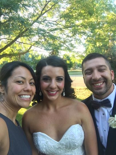 Together with the bride and groom