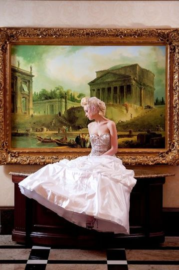 Bride by the painting