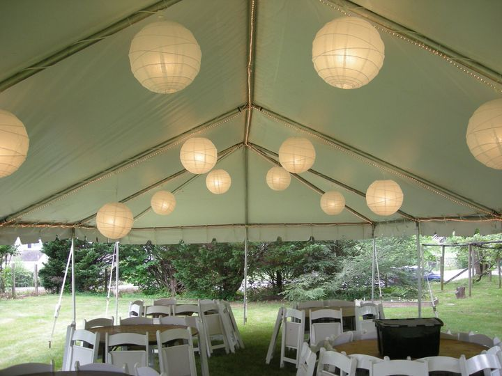 20x40 frame canopy with paper lanterns