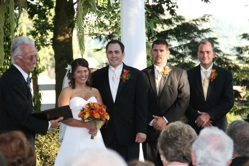 Newlyweds at their wedding