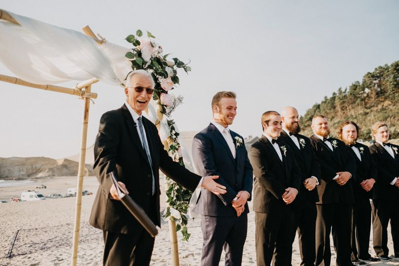 Officiant presenting the groom
