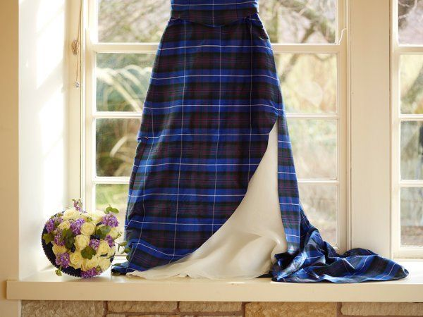 Silk tartan fabric perfect for the bride's dress. Available in over 60 Scottish tartans including...