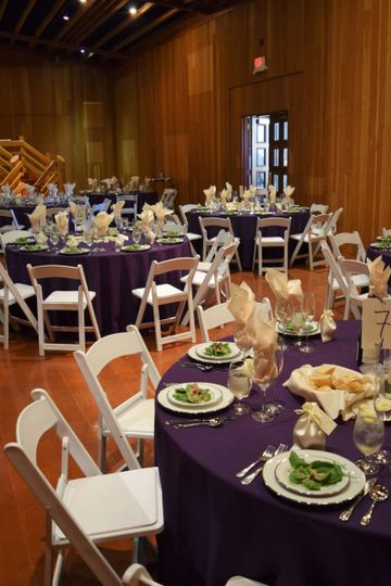 Blue tables and white chairs