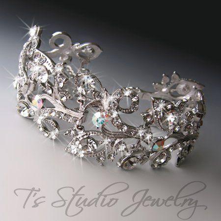 DENISE - Swarovski Crystal Rhinestone Cuff Bridal Bracelet  This is a stunning Swarovski Crystal...