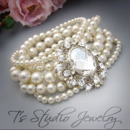 JASMINE - Multi Strand Pearl Cuff Bridal Bracelet  For the haute couture bride on her very special...
