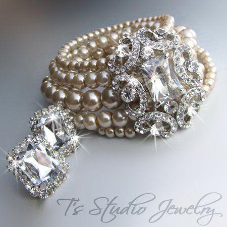 ANITA - Vintage Theme Multi Strand Swarovski Pearl Cuff Bridal Wedding Bracelet with Rhinestone...