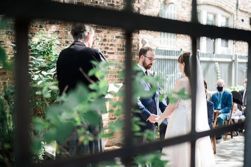 Intimate courtyard ceremony.