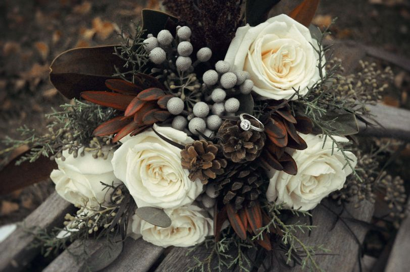 Roses and pinecones