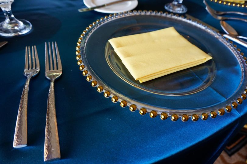 Glass Gold Beaded Charger Rentals