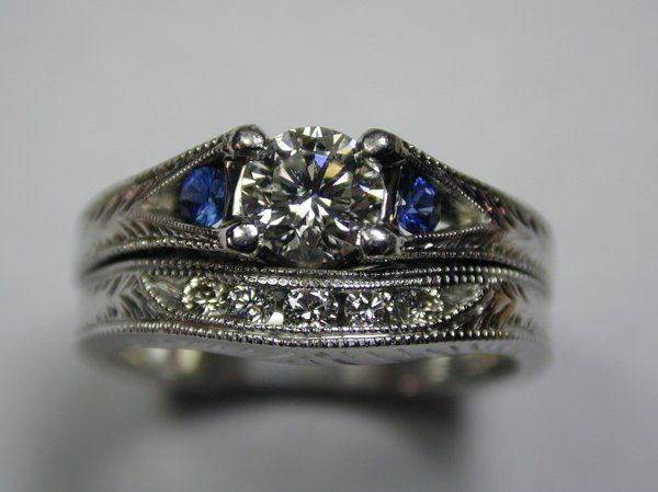 Custom Wedding Set with Diamonds and Blue Sapphires by Olufson Designs