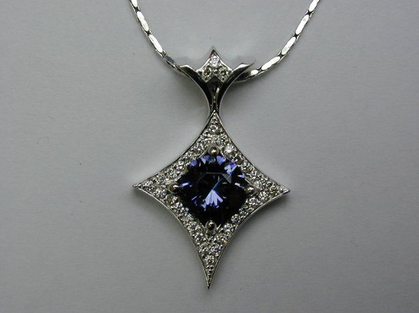 2007 Oregon State Design Competition 1st Place.  Benitoite pendant with diamonds by Olufson Designs