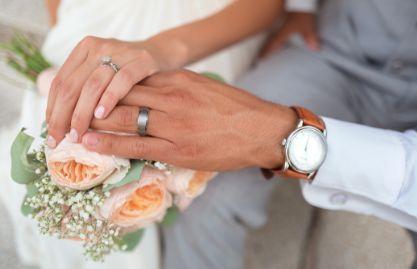 Wedding rings of couple