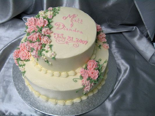 Tmx 1378340708650 Two Tier Pink Rosescake Concord, MA wedding cake
