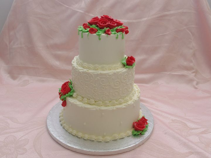 Tmx 1453216497689 Red Roses And Scrolls Three Tier Concord, MA wedding cake
