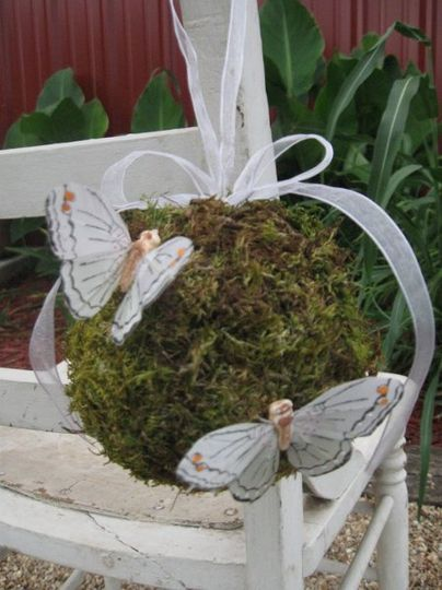 Moss covered butterfly pomander.  Great for a flower girl or an isle marker.