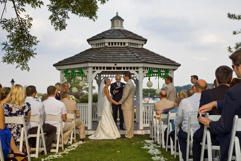 A beautiful lake setting to exchange vows under the Harbor Gazebo.