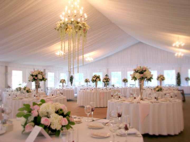 A beautiful reception under the Pavilion tent at The Abbey Resort.