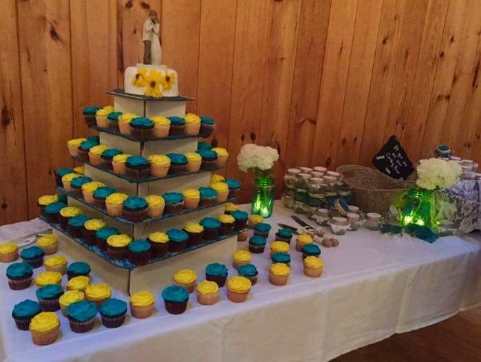 Blue and yellow cupcake tower