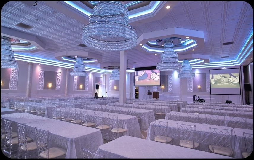 Banquet hall with screens