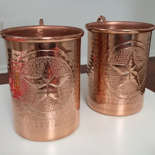 Handcrafted hammered pure copper Moscow Mule mugs. We can hand engrave names and your wedding date...