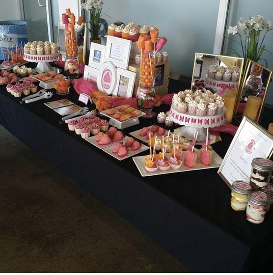 Dessert table for bridal shower