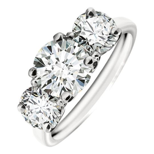 Forevermark 3 stone diamond ring in platinum and available in a variety of sizes.
