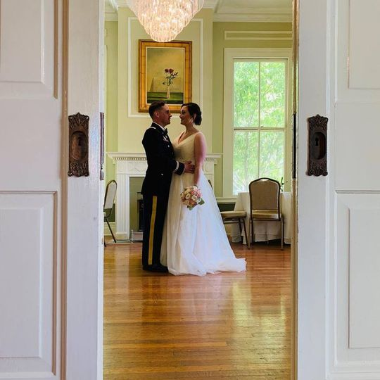 Couple in banquet room
