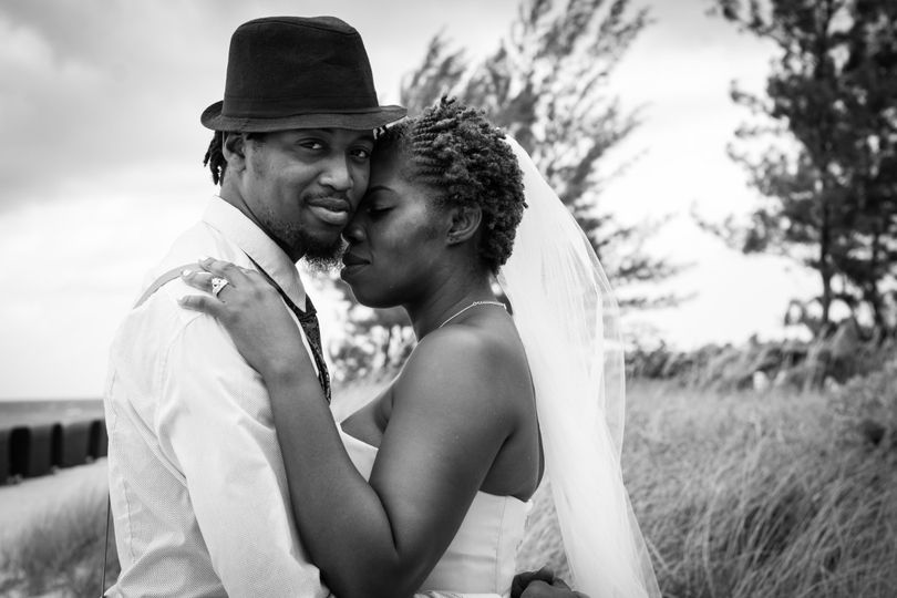 Couple posing in black and white