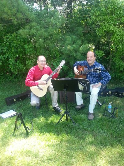 Steve and I at an outdoor wedding