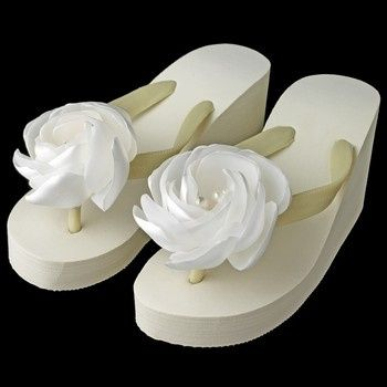 flower high wedge flip flops with rhinestone pearl