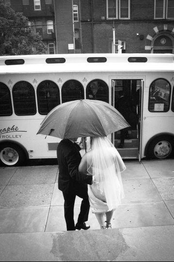 Bride and Dad in rain