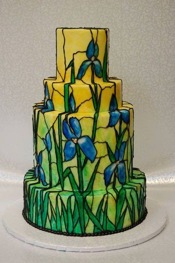 This cake was inspired by Tiffany lamps, stained glass, and Van Gogh. A colorful showstopper!
