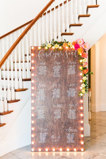 Hand lettered marquee seating chart