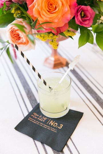 Personalized rose gold foil cocktail napkins & vintage drink stirrer