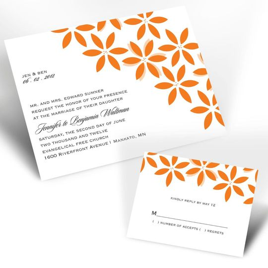 Flowers and Flourishes Grapevine Wedding Invitations - A colorful floral sketch accented by faint...