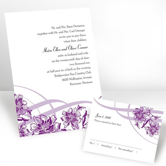 Luxurious Borders Invitation A luxurious lace border draws all attention to your wedding details on...