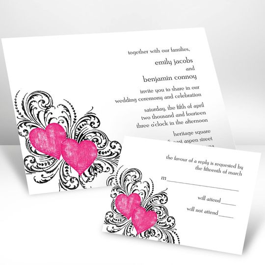 Beauty In Blue Wedding Invitation These watercolor wedding invitations with blooming flowers in...