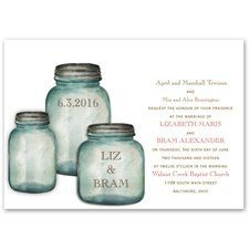 Canning Jars Invitation Classic country canning jars contain your names and wedding date on these...