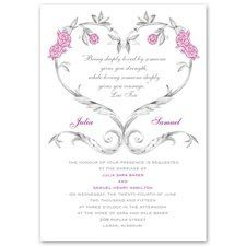 Fairy Tale Roses Invitation Rose vines in the shape of a heart wrap around a deeply romantic...